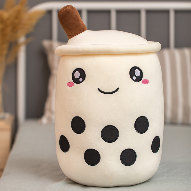 25-50cm Cartoon Plushie Bubble Tea Cup Shaped Pillow Real-life Stuffed Soft Back Cushion Funny Food Gifts For Kids Birthday PQ