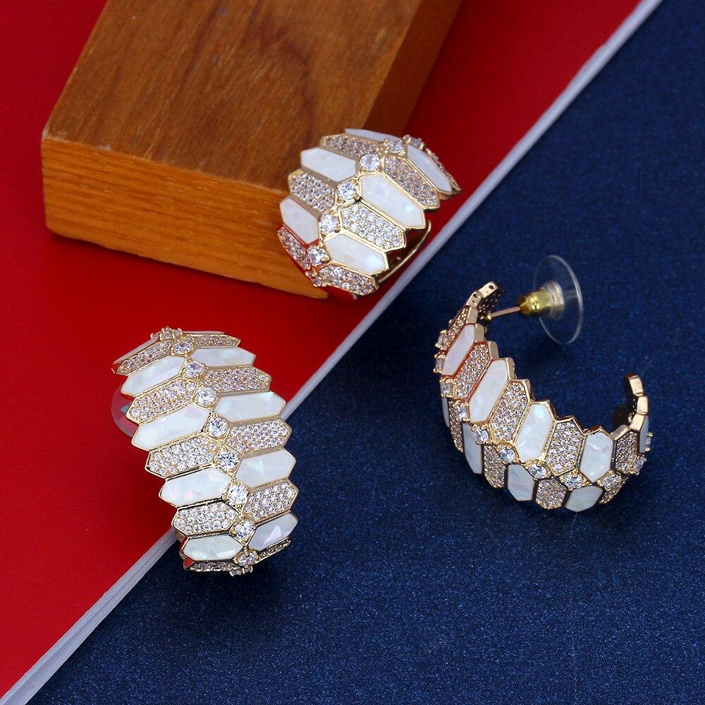 Bride Talk Luxury Unique Dubai Jewelry Copper Necklace Sets Shine Shell Design For Women Zircon Jewellery Nigerian Bridal Sets - 5