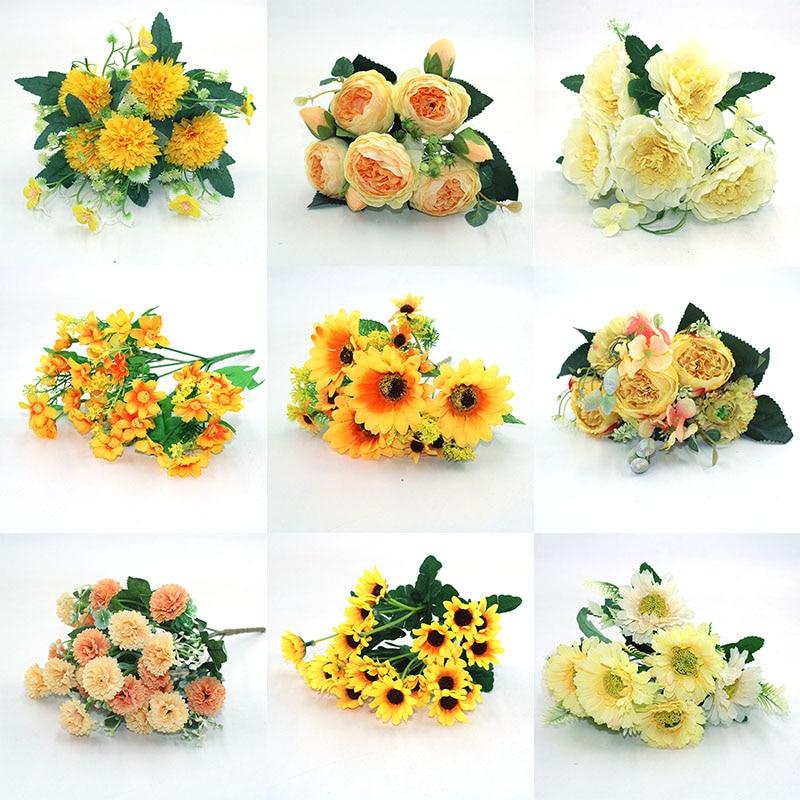 Желтый разнообразный осенний искусственный чай, роза, пион, Шелковый цветок, осенняя Гербера, ромашка, искусственный цветок, пластиковые DIY ...
