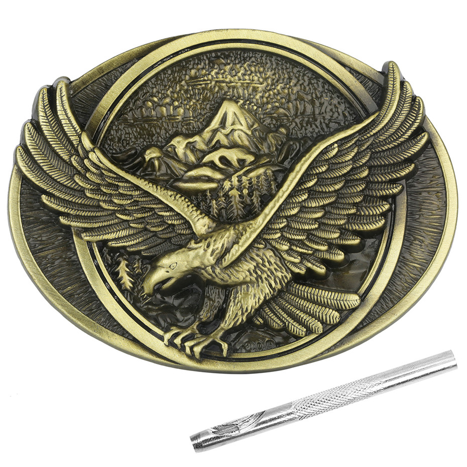 Punk Bronze Eagle Zinc Alloy Belt Buckle Metal Men's Belt Buckles With Belt Punch Tool New Arrival 2019
