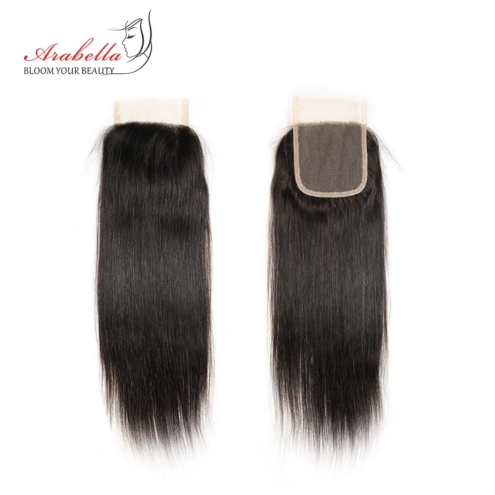 Perruque Lace Closure brésilienne naturelle Remy lisse-Arabella | 4x4, avec Closure, 100% cheveux humains, 3 parties, partie libre et centrale, 1 pièce