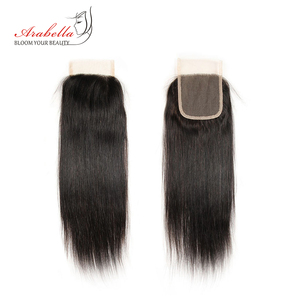 Image 2 - Brazilian Straight Lace Closure 4x4 Lace Closure Straight Remy Hair 100% Human Hair Arabella Pre Plucked Lace Closure