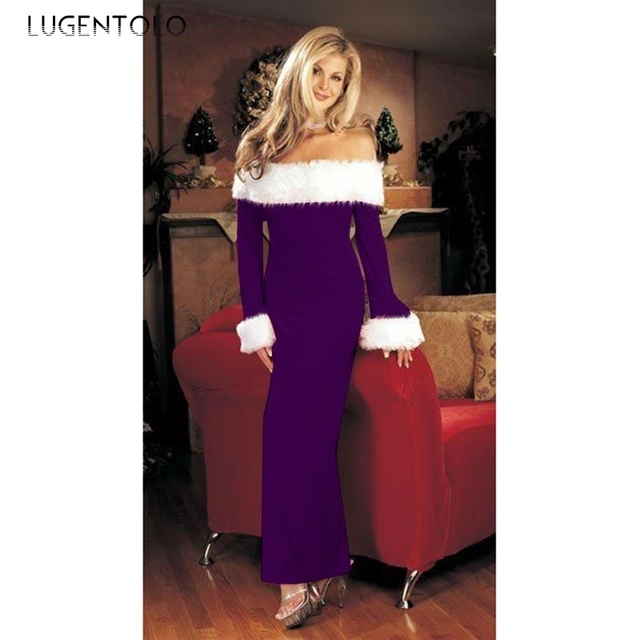 Lugentolo Women Dress Christmas Fshion Long Fur Sleeve Slash Neck Slim Fit Splice New Lady Sexy Party Pencil Solid Dresses