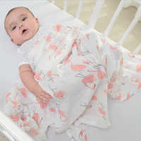 2 pçs/set Cobertor 100% Algodão Cobertor Do Bebê Recém-nascido Dos Desenhos Animados Padrão de Multi-uso Infantil Carrinho De Criança De Cobertura Toalha de Musselina Bebê Swaddle Envoltório