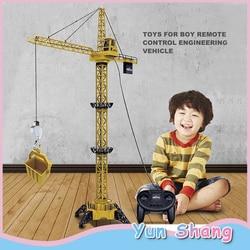 Grúa torre de 1,28 metros de construcción de juguete de Control remoto grúa torre de juguete para niños modelo de camión grúa giratoria