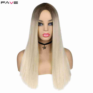 Image 2 - FAVE Mixed Ash Brown Blonde Straight Bob Shoulder Length Synthetic Wig Middle Part Cosplay Party Heat Resistant Fiber For Women