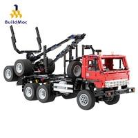 BuildMoc Logging Trucks Car Construction City Building Blocks Worker Figure Bricks Toys for Children Crane Model Kids Game