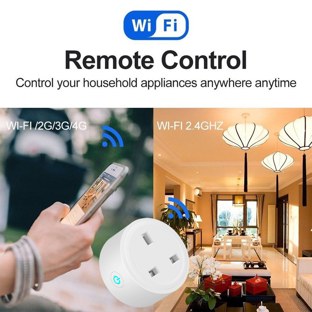UK Plug Wireless WIFI Remote Control Smart Socket Timing Switch Voice Control Smart Home Power Socket Work With Alexa Google