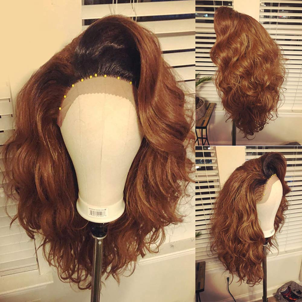 #1b/30 Honey Brown Color Short Bob Lace Front Wigs Glueless Natural Wave Synthetic Heat Resistant Fiber Hair Wig With Baby Hair