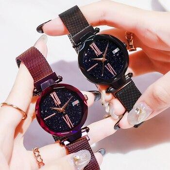 2019 Simple Diamond Luxury Women Watches Starry Sky Rose Gold Magnet Mesh Band Rhinestones Female Quartz Wristwatch Ladies Watch
