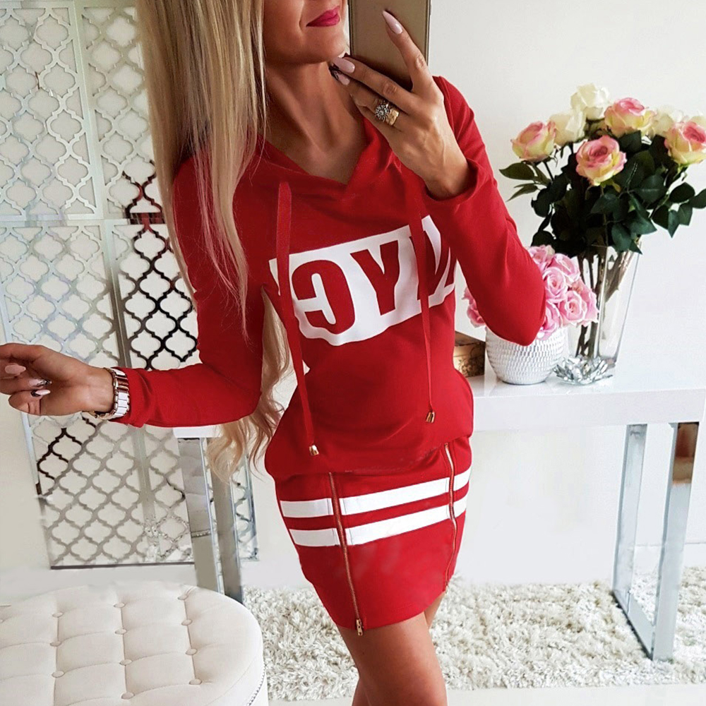 H9d1da61396f84bceab2b9ed7c137a0966 - Autumn Hoodies Dress Women Letter Print Hooded Dresses Lady Casual Zipper Drawstring Stripe Sweatshirt Dress ropa mujer D30
