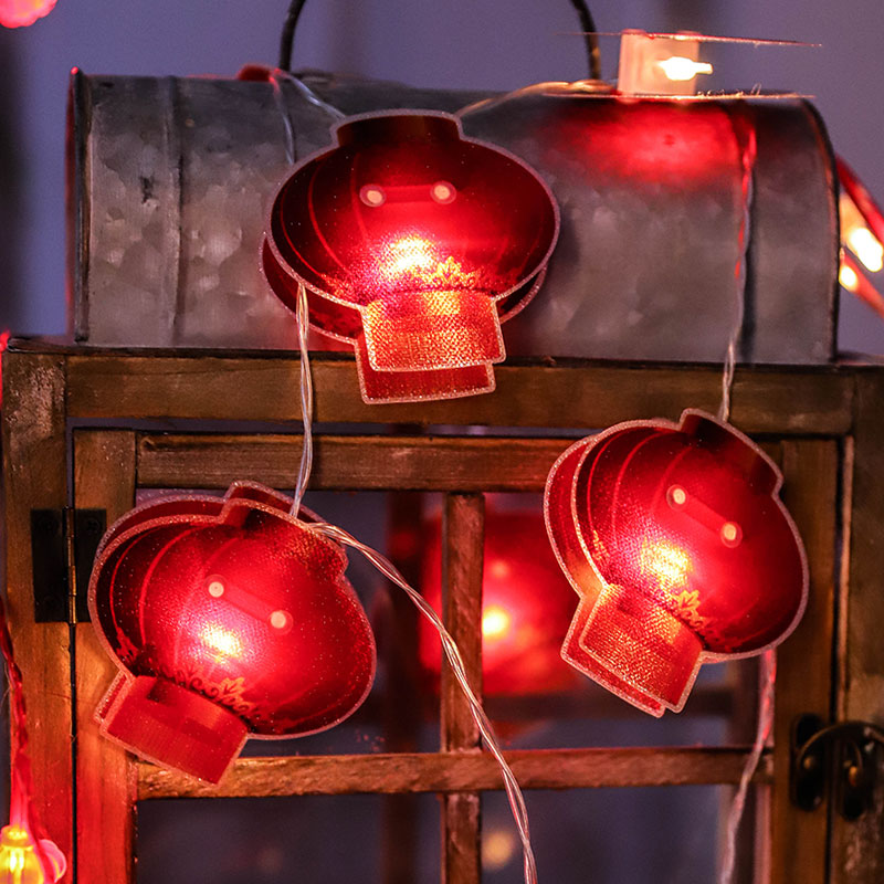 Fairy Chinese Red Lantern Battery  Lplug String Lights 10M Led Decorative For Christmas Garland On The Window Luci Led Natale