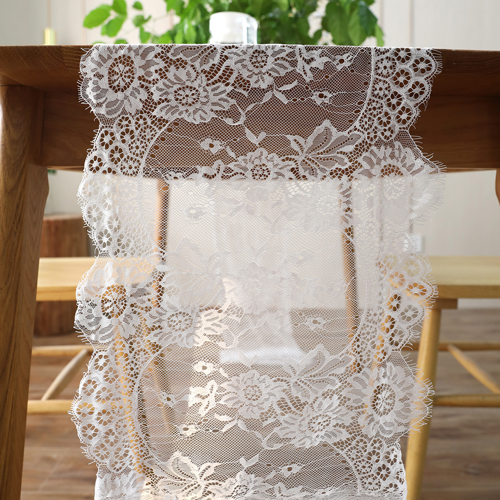35x300cm Vintage White Black Lace Floral Table Runner Table Cover Hotel Home Boho Birthday Wedding Party Banquet Decor Supply