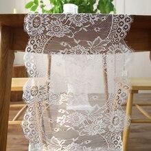 35x300cm Vintage blanco negro encaje Floral camino de mesa cubierta de Hotel hogar Boho cumpleaños boda fiesta banquete decoración de
