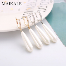 MAIKALE Long Water Drop Pearl Earrings AAA Cubic Zirconia Plated Gold Silver Needle Hypoallergenic For Women Gifts