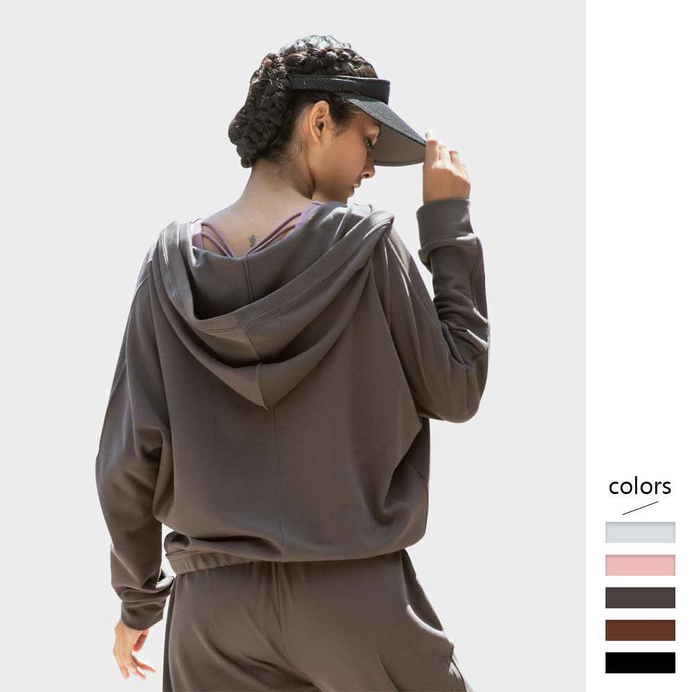 Women Hoodie Loose Deep V-neck Solid Pullover With Hood High Stretch Polyester Fabric Sports Fitness Women's Sweatshirt Wear