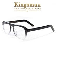 Kingsman2 мужские золотистые круглые оптические очки в ацетатной оправе, очки