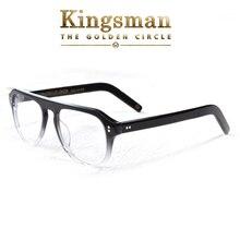 Kingsman2 الذهبي دائرة النظارات البصرية للرجل خلات إطار نظارات نظارات