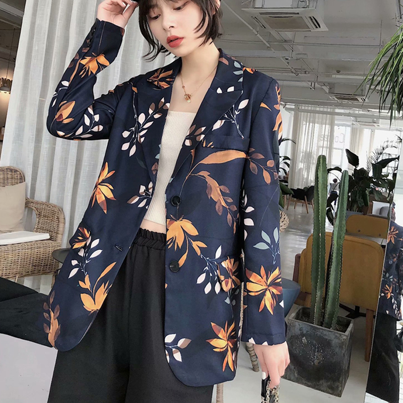 2020 Spring Vintage Print Blazers And Jackets Women Chic Pockets Suit Coat Female Outwear Tops Loose Office Wear Blazer Mujer