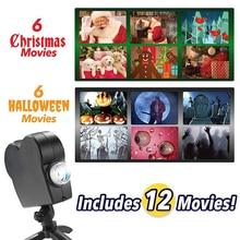 Natal halloween projetor holográfico 12 filmes festa de halloween natal papai noel lâmpada de projeção janela filme projetor