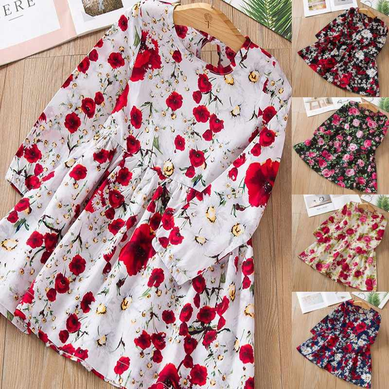 Girl Dress Cute Children's Cloth Sleeveless Flower Print Cotton and Linen Floral Dress Baby Girl Spring Summer Dresses for Girls