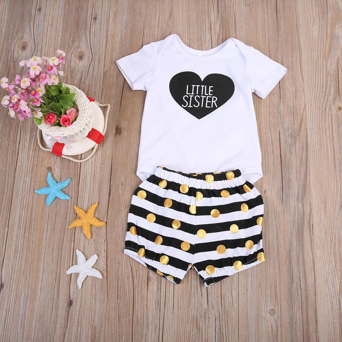 Bebé recién nacido niños hermanas letras Corazón a juego ropa Romper pantalones camiseta vestido trajes ropa 0-7T