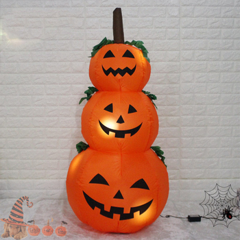 120cm/230cm Ghost Pumpkin Giant Halloween Inflatable LED Lighted Toys 3 Jack-O-Lanterns Yard Decoration Party Props Airbow