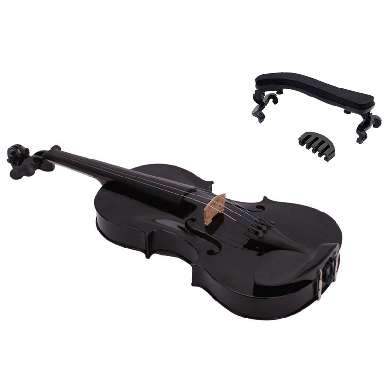 4/4 Full Size Acoustic Violin Fiddle Black with Case Bow Rosin & Violin Shoulder Rest for 4/4-3/4 Size with Collapsible