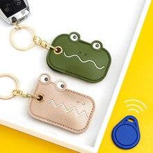 JIANWU Cute Cartoon Access Card Leather Case Keychain Pendants Creative Personality Crocodile Frog Car Keyring Decor Jewelry