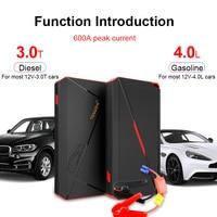 12000mA Auto Starthilfe Power pack Tragbare Auto Batterie Booster Ladegerät 12V Ausgangs Gerät Diesel Auto Starter Jumpstarter