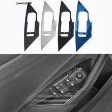 4Pcs Door Window Lift Switch Button Cover Trim Panel Car Carbon Fiber Trim Sticker Fit For Volkswagen VW Jetta MK7 2019 2020 lapetus accessories fit for volkswagen vw tiguan mk2 2016 2019 window lift button switch cover trim matte carbon fiber style