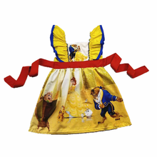 Four seasons childrens clothes suspenders costume yellow dress beauty and the beast girl costume suit
