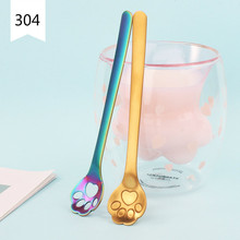 Ins 304 Stainless Steel Dessert Spoons Creative Dog Claw Cat Hollow Coffee Spoon Cartoon and Stirring coffee