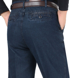 Image 1 - 남성을위한 새로운 도착 스트레치 청바지 봄 가을 남성 캐주얼 고품질 코튼 레귤러 피트 데님 바지 진한 파란색 바지 바지