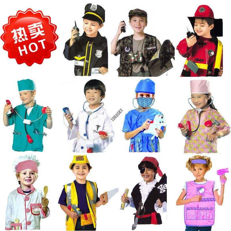 Kinder kinder Cosplay carnaval uniformen feuerwehrmann arzt party spiel halloween kostüm für mädchen Jungen polizei mann polizist kostüm