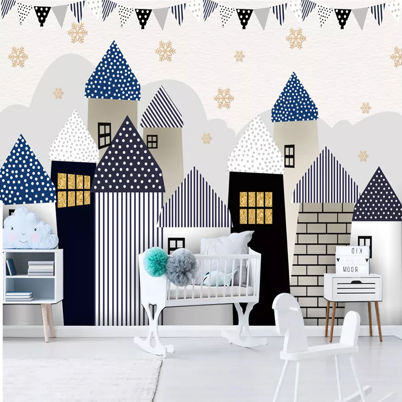 Custom Mural Wallpaper For Kids Room Wall Decals Cartoon House Castle Children Baby Room Kindergarten Decoration Wall Painting