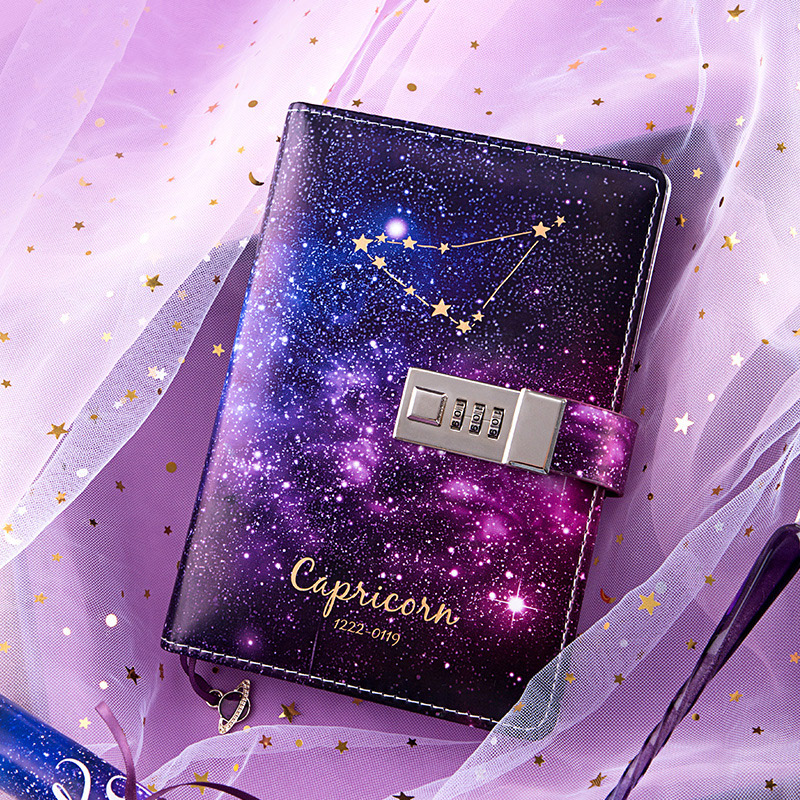 B6 Bullet Journal Diary Twelve Constellations Notebook With Lock Agenda Planner Organizer Notepad Kawaii Note Book Birthday Gift