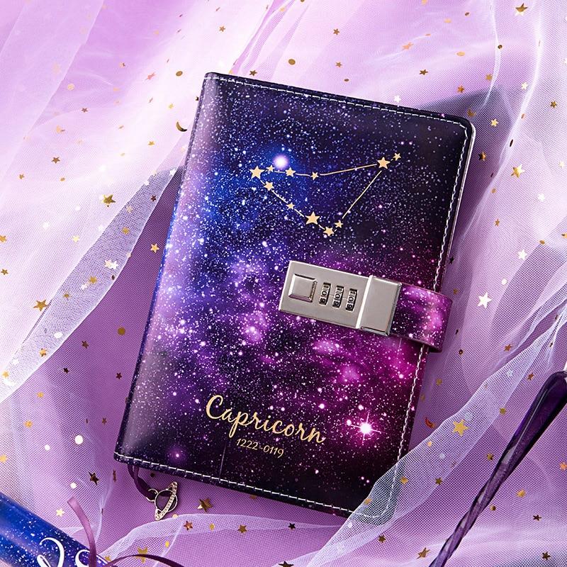 B6 Bullet Journal Diary Twelve Constellations Notebook With Lock Agenda Planner Organizer Notepad Kawaii Note Book Birthday Gift