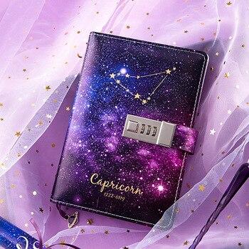 B6 Proiettile Ufficiale Diario Dodici Costellazioni Notebook con Serratura Agenda Planner Organizzatore Notepad Kawaii Note Book Regalo Di Compleanno