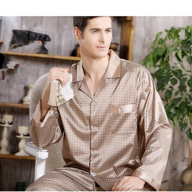 Silk pajamas men Cozy and soft Long-sleeved tops + Trousers Two Pieces Sleepwear Set Plus Size Pyjamas Home Clothes bts pajamas