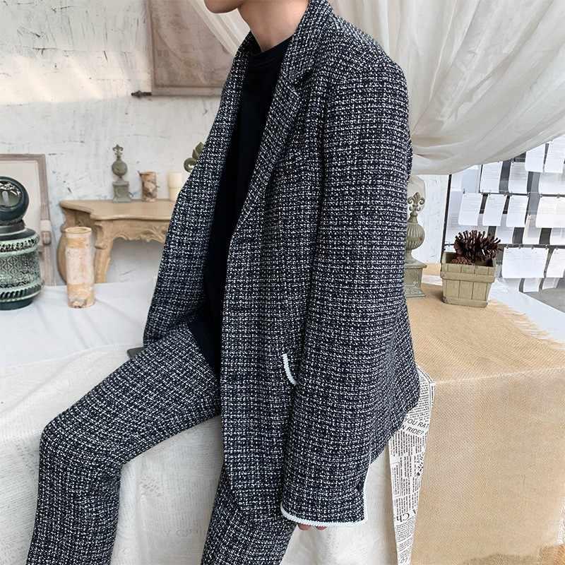 Coreano Casual para hombre Plaid trajes de dos piezas de manga larga solapa de un solo pecho colores mixtos chaqueta holgada Pantalones rectos de longitud del tobillo