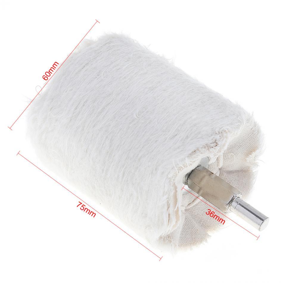 3 Inch Abrasive Pad Cylinder Shape White Cloth Polishing Wheel Mirror Polishing Buffer Cotton Pad For Surface Polishing/Grinding