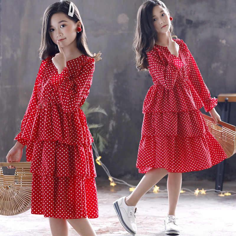 십대 소녀 가을 겨울 공주 드레스 점 계층화 된 드레스 긴 소매 아이 드레스 여자 아이 옷 입히기 12 13 년
