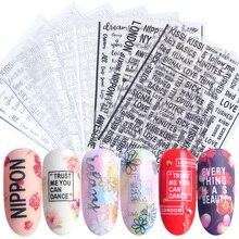 1pcs Alfabeto 3D Decalques Etiqueta Do Prego Preto Branco Prata Sliders Carta Decoração Adesivo Nail Art Tips Manicure JICB122 124