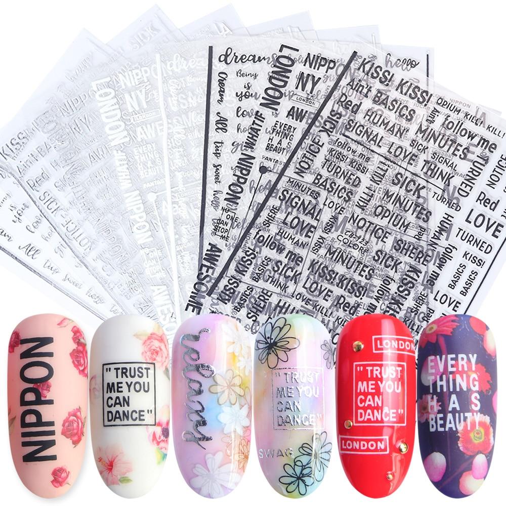 1 шт. алфавит, 3D наклейки для ногтей, наклейки, черные, белые, Серебряные буквы, слайдеры, украшение для маникюра, клейкие наклейки для ногтей, ...