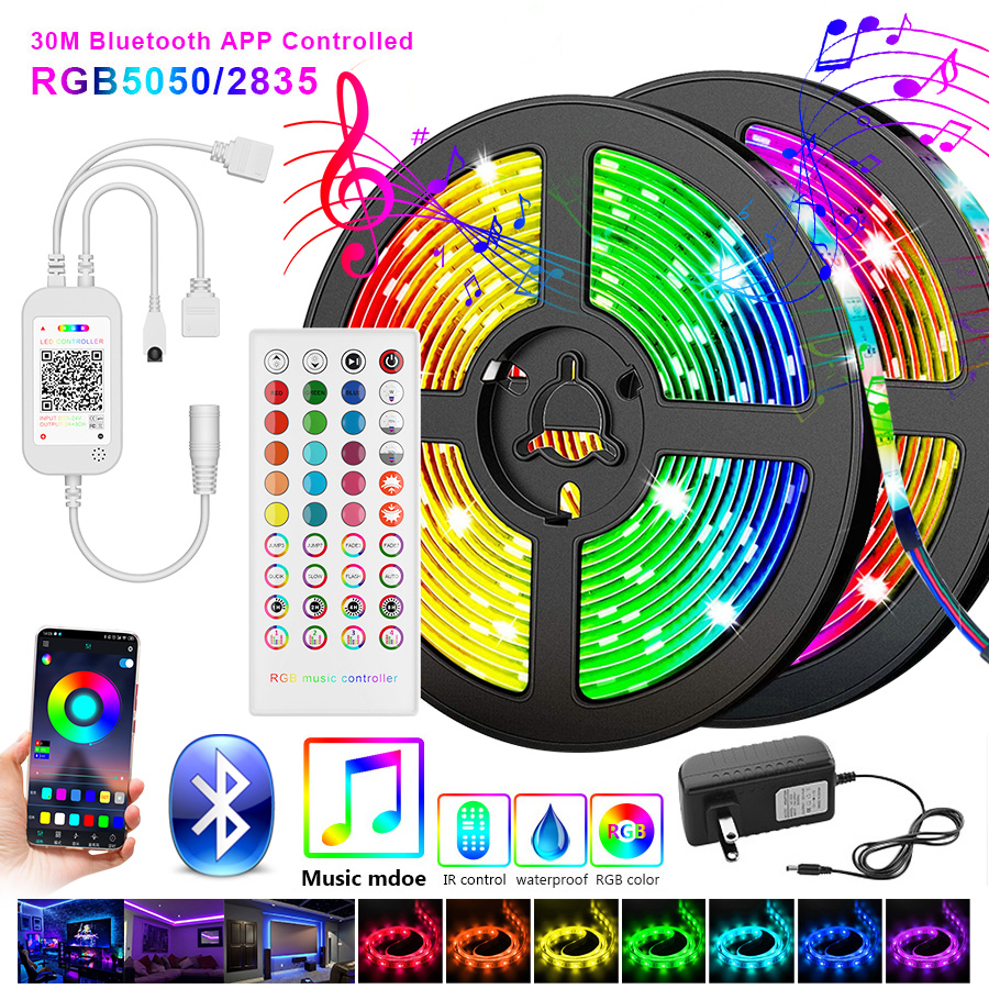 5050 Led Strip 5M 10M 2835 LED Strip Light led ribbon 15M 20M rgb led diode tape Bluetooth Controller power adapter for Home(China)