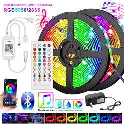 5050 Led Strip 5M 10M 2835 LED Strip Light led ribbon 15M 20M rgb led diode tape Bluetooth Controller power adapter for Home