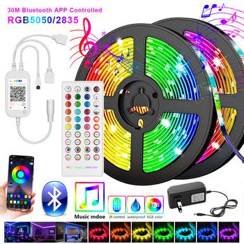 5050 taśma Led 5M 10M 2835 taśma LED wstęga led 15M 20M rgb dioda led taśma kontroler Bluetooth zasilacz do domu tanie i dobre opinie RiRi won CN (pochodzenie) SALON 50000 PRZEŁĄCZNIK Taśmy 3 84 w m Epistar RGB strip 12 v Smd5050 LED Strip 5m Roll AC110V 240V DC 12V
