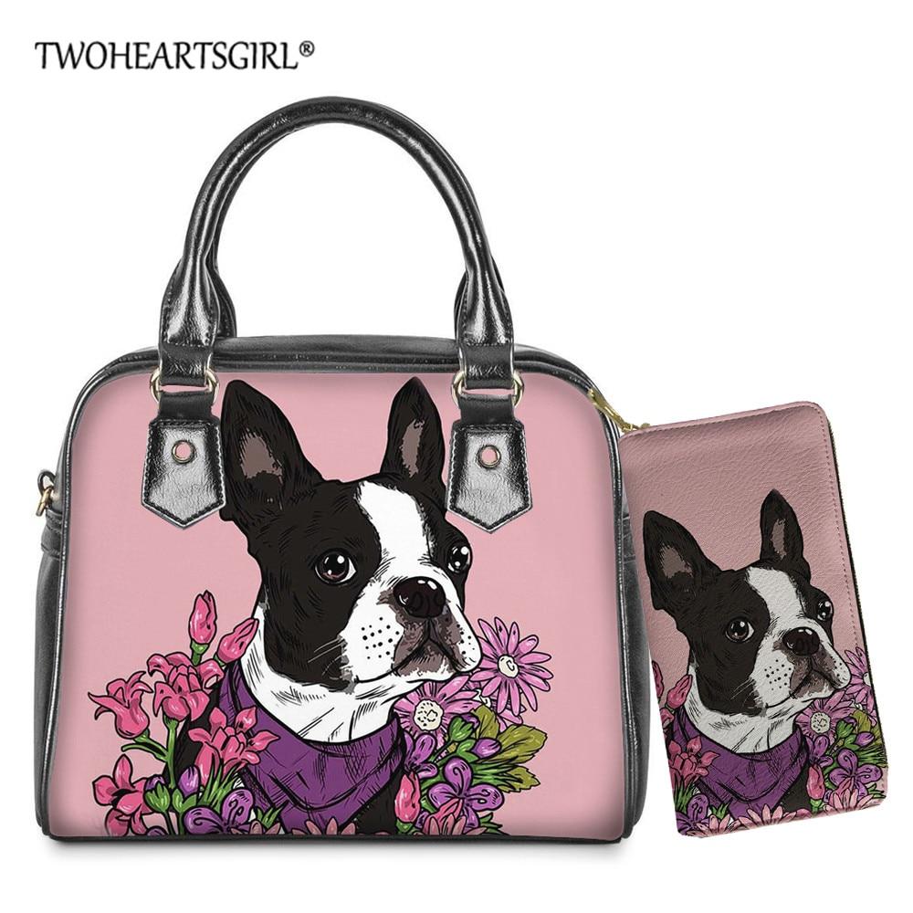 Twoheartsgirl Printing Boston Terrier Handbag Tote Bag Women Shoulder BagsPurse 2in1 Set Ladies Cross Body Bag Bolsa Feminina