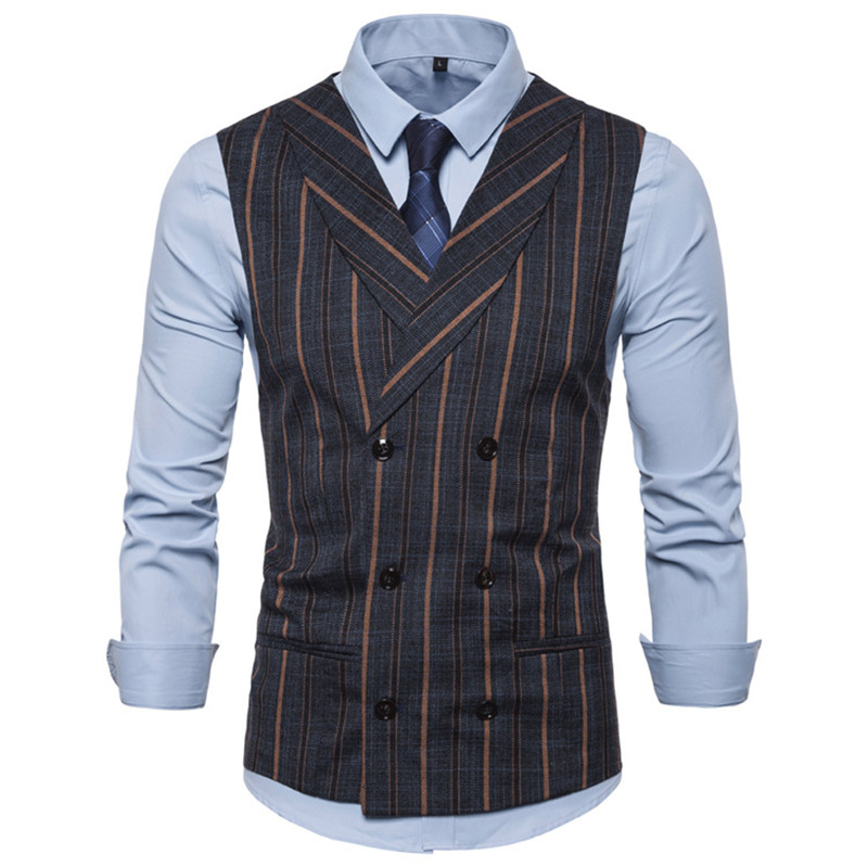 2020 Mens Stripe Plaid Formal Blazer Vests Casual Double Breasted V-neck Fashion S-2XL Male England Style Casual Vests